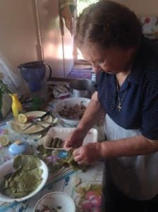 Marietta making dolmades